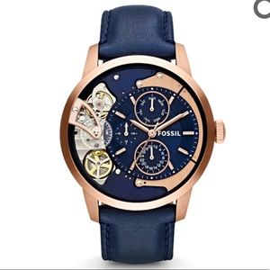 Fossil Townsmen Multifunction Navy Leather Watch